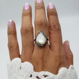 Authentic Joseph Esposito 925 Sterling Silver Pink Mother of Pearl Cocktail Ring